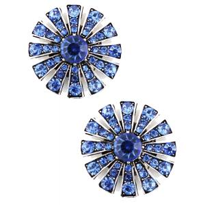 wholesale Magnetic Brooches Starburst Design - Double Sided 408 Light Sapphire (Double Sided) -