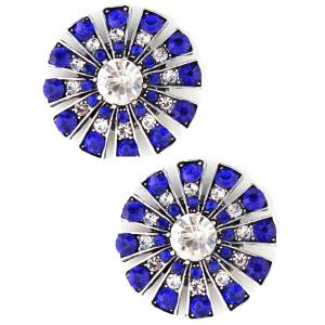 wholesale Magnetic Brooches Starburst Design - Double Sided 408 Clear-Sapphire (Double Sided) -
