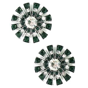 wholesale Magnetic Brooches Starburst Design - Double Sided 408 Clear-Emerald (Double Sided) -