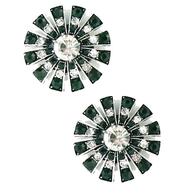 Magnetic Brooches Starburst Design - Double Sided 408 Clear-Emerald (Double Sided) -