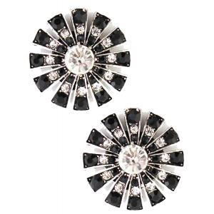 wholesale Magnetic Brooches Starburst Design - Double Sided 408 Clear-Black (Double Sided) -