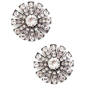 wholesale Magnetic Brooches Starburst Design - Double Sided 408 Clear (Double Sided)  -