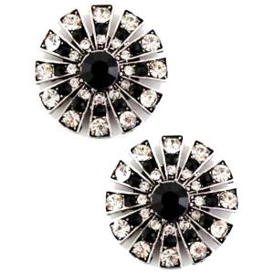 wholesale Magnetic Brooches Starburst Design - Double Sided 408 Black-Clear (Double Sided) -