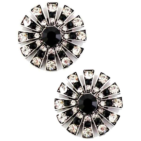 Magnetic Brooches Starburst Design - Double Sided 408 Black-Clear (Double Sided) -