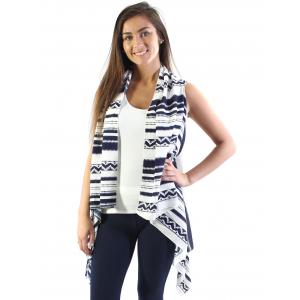 wholesale Crepe Vests - 1310 Navy-White -