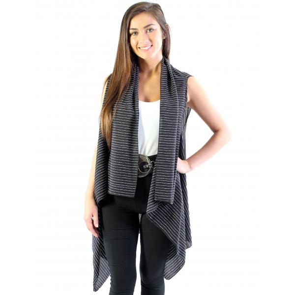 wholesale Crepe Vests - 1310 Black-White -