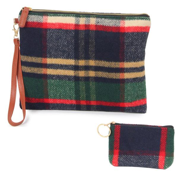 Wholesale Wristlets & Coin Purses 9070 Tartan Plaid Navy -