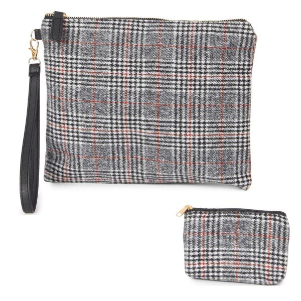 Wholesale Wristlets & Coin Purses 9126 Glen Check Black -