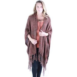 wholesale Ruana Capes - Knit Hoodie 9146 Rust Ruana Capes - Knit Hoodie 9146 -
