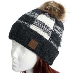 Metallic Print Shawls with Buttons Black/White Buffalo Check Pattern Knit Hat -