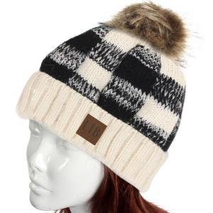 Metallic Print Shawls with Buttons White/Black Buffalo Check Pattern Knit Hat -