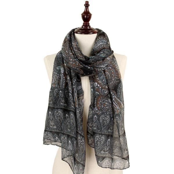 wholesale Oblong Scarves - Paisley Print 9171 & 9172 9171 Black -