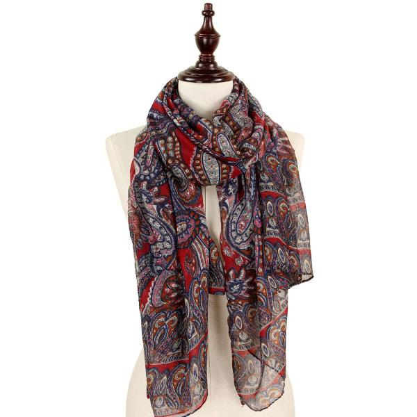 wholesale Oblong Scarves - Paisley Print 9171 & 9172 9171 Burgundy -
