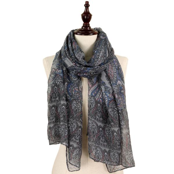 wholesale Oblong Scarves - Paisley Print 9171 & 9172 9171 Grey -