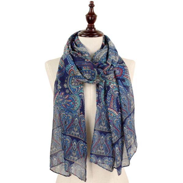 wholesale Oblong Scarves - Paisley Print 9171 & 9172 9171 Navy -
