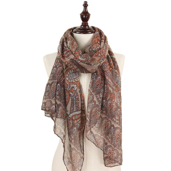 wholesale Oblong Scarves - Paisley Print 9171 & 9172 9171 Taupe -
