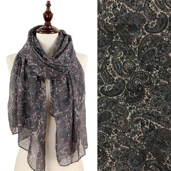 wholesale Oblong Scarves - Paisley Print 9171 & 9172 9172 Grey -