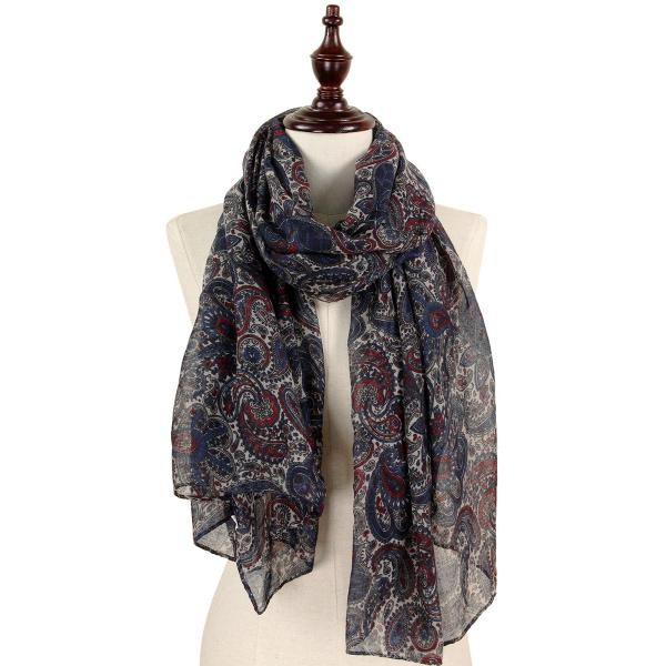 wholesale Oblong Scarves - Paisley Print 9171 & 9172 9172 Navy -