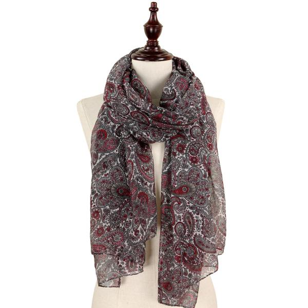 wholesale Oblong Scarves - Paisley Print 9171 & 9172 9172 Burgundy -