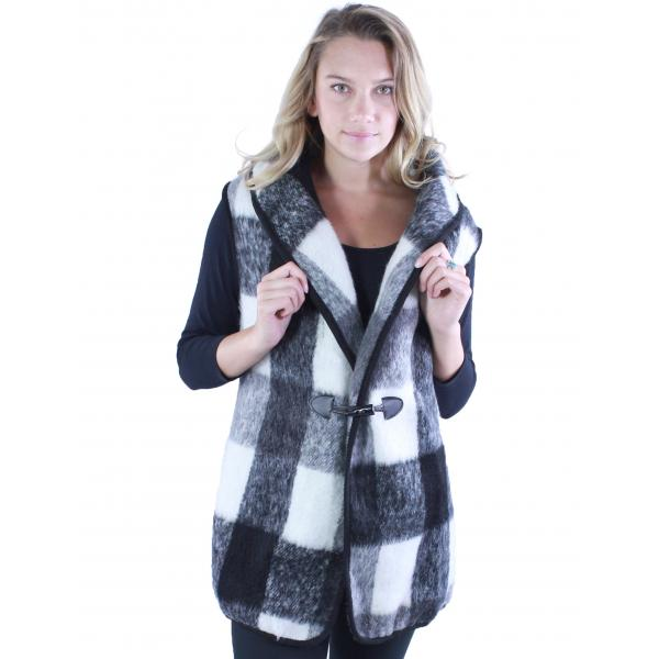 wholesale Vests - Brushed Check w/ Toggle Button 9046 Black -
