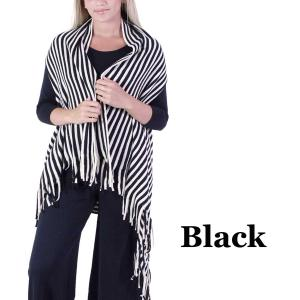 wholesale Vests - Knit Striped 9182 Black -