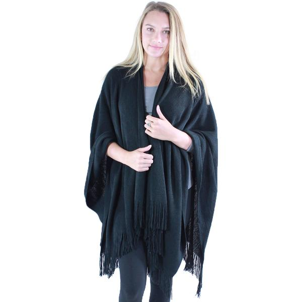 wholesale Ruana Capes - Cashmere Feel Solids Cashmere Feel 0940027 - Black -