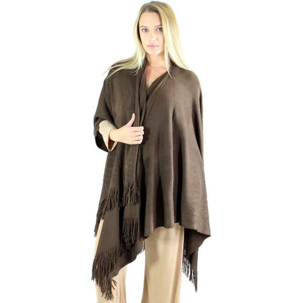 wholesale Ruana Capes - Cashmere Feel Solids Cashmere Feel 0940027 - Brown -