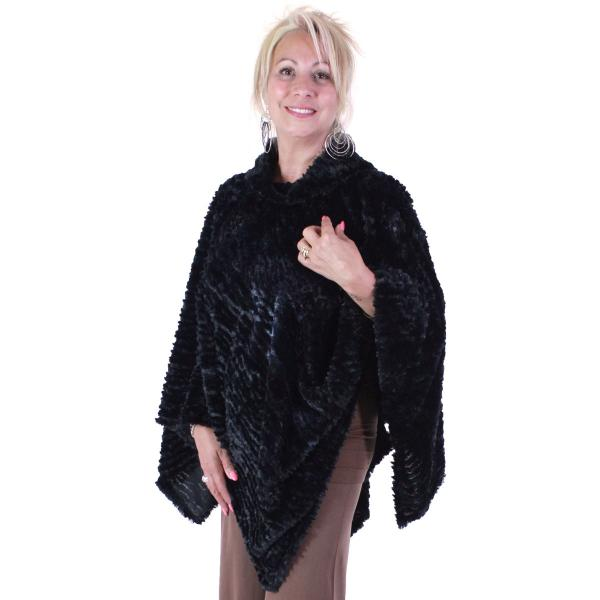 wholesale Winter Ponchos - Faux Fur Designs Rippled Faux Fur 8660 - Black -