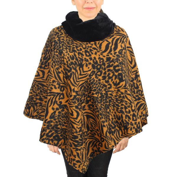 wholesale Winter Ponchos - Faux Fur Designs Animal w/ Fur Collar 9395 Animal Print Camel -