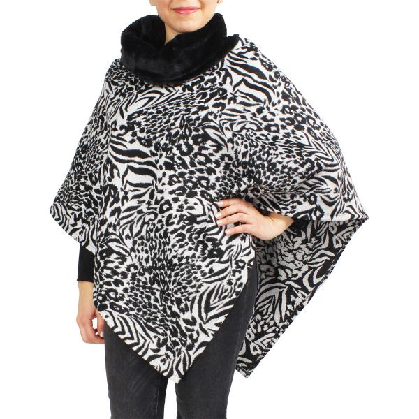 wholesale Winter Ponchos - Faux Fur Designs Animal w/ Fur Collar 9395 Animal Print White -