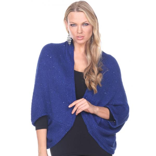 wholesale Cozy Shrugs and Knitted Capes Sequined 4384 - Blue -