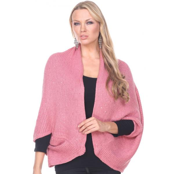 wholesale Cozy Shrugs and Knitted Capes Sequined 4384 - Pink -