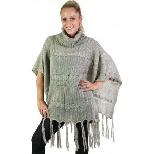 wholesale Winter Ponchos - Square Bottom Knit Turtleneck 5644 - Beige -