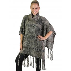 wholesale Winter Ponchos - Square Bottom Knit Turtleneck 5644 - Brown -