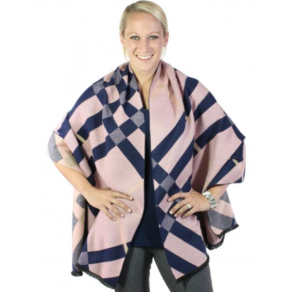 wholesale Winter Shawls - Plaids, Checks, & Herringbone Plaid and Check 298 - Mauve-Navy -