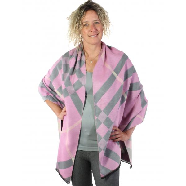 wholesale Winter Shawls - Plaids, Checks, & Herringbone Plaid and Check 298 - Pink-Grey -