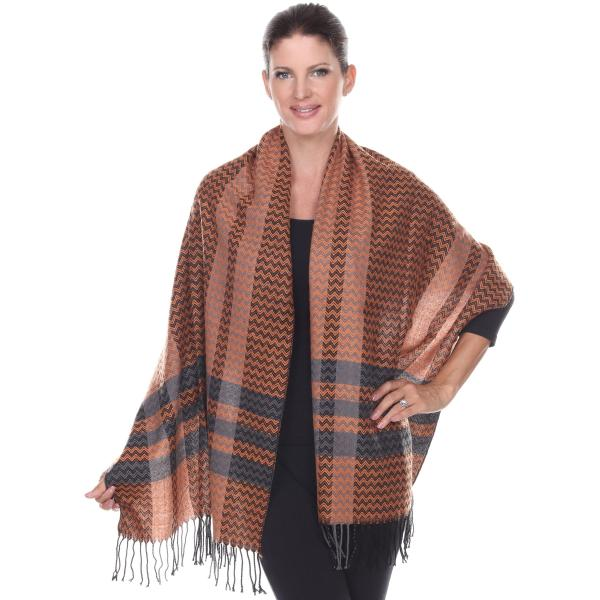 wholesale Shawls - Cashmere Feel Cashmere Feel Chevron 4399 - Orange -