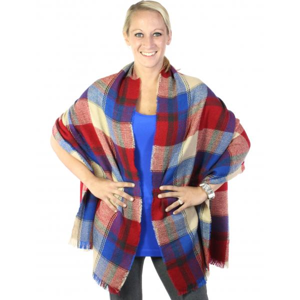 wholesale Winter Shawls - Block Print Block Plaid 255 - Red-Royal -