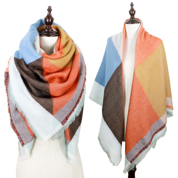 wholesale Winter Shawls - Blanket Style Geometric Pattern 8627 - Rust-Blue -