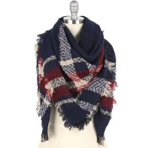 wholesale Winter Shawls - Blanket Style Plaid 9449 - Navy -