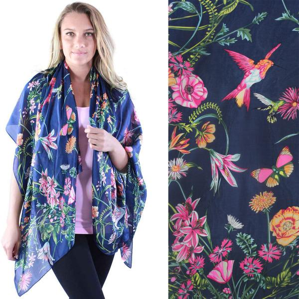 wholesale Shawls - Boutique Charmeuse #06 Navy Flower Garden -