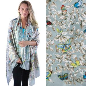 Shawls - Boutique Charmeuse #09 Butterflies Light Grey -