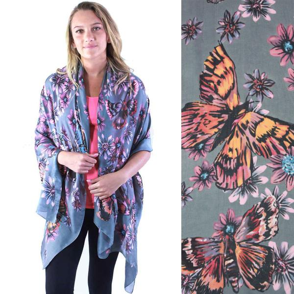 wholesale Shawls - Boutique Charmeuse #12 Stencil Butterfly Steel Grey -