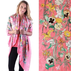 Shawls - Boutique Charmeuse #13 Coral Flowers & Vines -