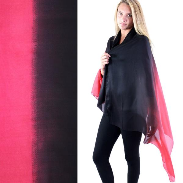 wholesale Shawls - Boutique Charmeuse #23 Ombre Black-Red -