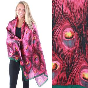 Shawls - Boutique Charmeuse #25 Peacock Feathers Magenta -