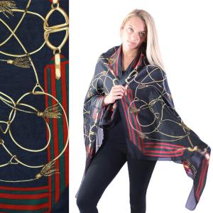 Shawls - Boutique Charmeuse #29 Chain Design Navy -