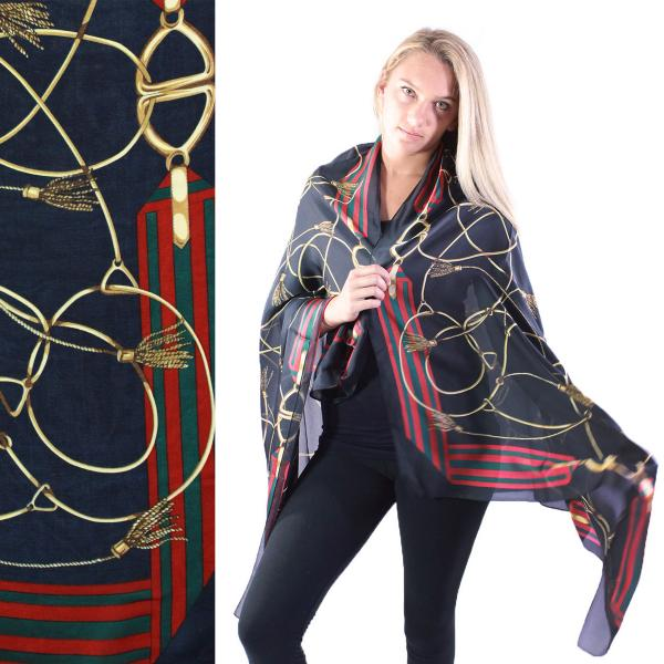 wholesale Shawls - Boutique Charmeuse #29 Chain Design Navy -