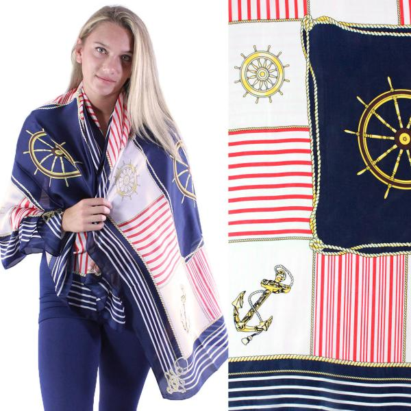 wholesale Shawls - Boutique Charmeuse #33 Anchors and Ship Wheels - Navy -