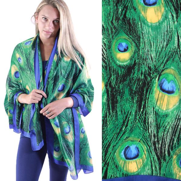 wholesale Shawls - Boutique Charmeuse #34 Peacock Green -